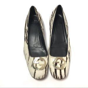 Gucci Zebra Flats Size 10.5/9.5B Animal Skin
